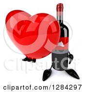 Clipart Of A 3d Red Grape Label Wine Bottle Mascot Holding Up A Heart Royalty Free Illustration