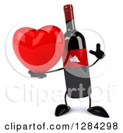 Clipart Of A 3d Red Grape Label Wine Bottle Mascot Holding Up A Finger And A Heart Royalty Free Illustration