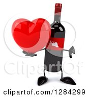 Clipart Of A 3d Red Grape Label Wine Bottle Mascot Holding A Thumb Down And A Heart Royalty Free Illustration