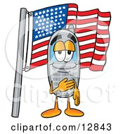 Wireless Cellular Telephone Mascot Cartoon Character Pledging Allegiance To An American Flag