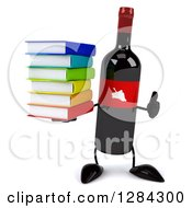 Clipart Of A 3d Red Grape Label Wine Bottle Mascot Holding A Thumb Up And A Stack Of Books Royalty Free Illustration