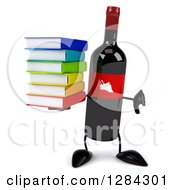 Clipart Of A 3d Red Grape Label Wine Bottle Mascot Holding A Thumb Down And A Stack Of Books Royalty Free Illustration