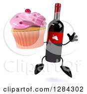 Clipart Of A 3d Red Grape Label Wine Bottle Mascot Jumping And Holding A Pink Frosted Cupcake Royalty Free Illustration