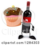 Clipart Of A 3d Red Grape Label Wine Bottle Mascot Holding A Chocolate Frosted Cupcake Royalty Free Illustration