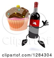 Clipart Of A 3d Red Grape Label Wine Bottle Mascot Jumping And Holding A Chocolate Frosted Cupcake Royalty Free Illustration