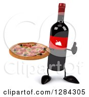 Clipart Of A 3d Red Grape Label Wine Bottle Mascot Holding A Thumb Up And A Pizza Royalty Free Illustration