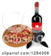 Clipart Of A 3d Red Grape Label Wine Bottle Mascot Holding Up A Pizza Royalty Free Illustration