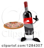 Clipart Of A 3d Red Grape Label Wine Bottle Mascot Holding Up A Finger And A Pizza Royalty Free Illustration