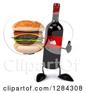 Clipart Of A 3d Red Grape Label Wine Bottle Mascot Holding A Thumb Up And A Double Cheeseburger Royalty Free Illustration