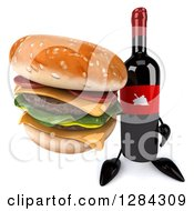 Clipart Of A 3d Red Grape Label Wine Bottle Mascot Holding Up A Double Cheeseburger Royalty Free Illustration