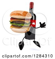 Clipart Of A 3d Red Grape Label Wine Bottle Mascot Facing Right Jumping And Holding A Double Cheeseburger Royalty Free Illustration