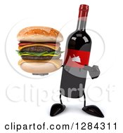 Clipart Of A 3d Red Grape Label Wine Bottle Mascot Holding And Pointing To A Double Cheeseburger Royalty Free Illustration