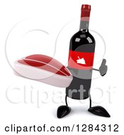Clipart Of A 3d Red Grape Label Wine Bottle Mascot Holding A Thumb Up And A Beef Steak Royalty Free Illustration