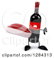 Clipart Of A 3d Red Grape Label Wine Bottle Mascot Holding A Thumb Down And A Beef Steak Royalty Free Illustration