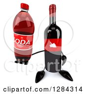 Clipart Of A 3d Red Grape Label Wine Bottle Mascot Holding Up A Soda Bottle Royalty Free Illustration