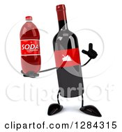 Clipart Of A 3d Red Grape Label Wine Bottle Mascot Holding Up A Finger And A Soda Bottle Royalty Free Illustration