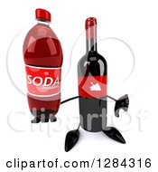 Clipart Of A 3d Red Grape Label Wine Bottle Mascot Holding Up A Soda Bottle And A Thumb Down Royalty Free Illustration