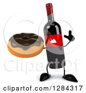 Clipart Of A 3d Red Grape Label Wine Bottle Mascot Holding Up A Finger And A Donut Royalty Free Illustration