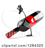 Clipart Of A 3d Red Grape Label Wine Bottle Mascot Facing Slightly Right And Cartwheeling Royalty Free Illustration