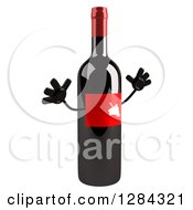Clipart Of A 3d Red Grape Label Wine Bottle Mascot Facing Slightly Right And Jumping Royalty Free Illustration