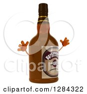 Clipart Of A 3d Whisky Bottle Character Facing Right Nad Jumping Royalty Free Illustration by Julos