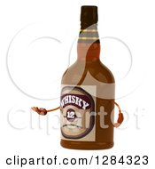 Clipart Of A 3d Whisky Bottle Character Shrugging And Facing Left Royalty Free Illustration by Julos