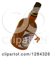 Clipart Of A 3d Whisky Bottle Character Facing Right And Looking Down Royalty Free Illustration by Julos