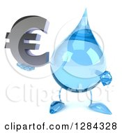 Clipart Of A 3d Water Drop Character Holding And Pointing To A Euro Symbol Royalty Free Illustration