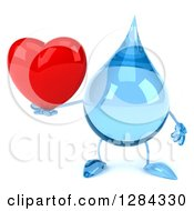 Clipart Of A 3d Water Drop Character Holding A Heart Royalty Free Illustration