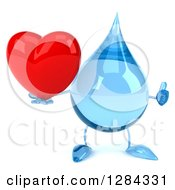 Clipart Of A 3d Water Drop Character Holding A Thumb Up And A Heart Royalty Free Illustration