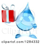 Clipart Of A 3d Water Drop Character Holding And Pointing To A Gift Royalty Free Illustration