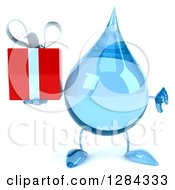 Clipart Of A 3d Water Drop Character Holding A Gift And Thumb Down Royalty Free Illustration