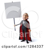Clipart Of A 3d Dracula Vampire Holding Up A Blank Sign Royalty Free Illustration by Julos