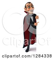 Clipart Of A 3d Full Length Dracula Vampire Pointing Around A Sign Royalty Free Illustration