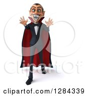 Clipart Of A 3d Dracula Vampire Walking And Reaching Out Royalty Free Illustration