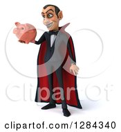 Clipart Of A 3d Dracula Vampire Facing Slightly Left Smiling And Holding A Piggy Bank Royalty Free Illustration by Julos