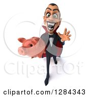 Clipart Of A 3d Menacing Dracula Vampire Reaching Up And Holding A Piggy Bank Royalty Free Illustration by Julos