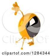 Clipart Of A 3d Retro Yellow TV Character Facing Right And Cartwheeling Royalty Free Illustration