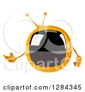 Clipart Of A 3d Retro Yellow TV Character Presenting To The Left Royalty Free Illustration