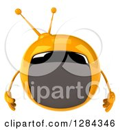 Clipart Of A 3d Retro Yellow TV Character Pouting Royalty Free Illustration
