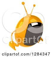 Clipart Of A 3d Retro Yellow TV Character Pouting And Facing Right Royalty Free Illustration
