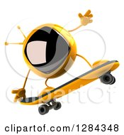 Clipart Of A 3d Retro Yellow TV Character Skateboarding Royalty Free Illustration