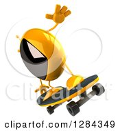 Clipart Of A 3d Retro Yellow TV Character Facing Left And Skateboarding Royalty Free Illustration
