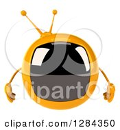 Clipart Of A 3d Retro Yellow TV Character Royalty Free Illustration