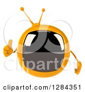 Clipart Of A 3d Retro Yellow TV Character Giving A Thumb Up Royalty Free Illustration