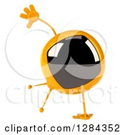 Clipart Of A 3d Retro Yellow TV Character Cartwheeling Royalty Free Illustration