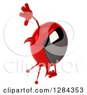 Clipart Of A 3d Evil Devil Tv Cartwheeling And Facing Right Royalty Free Illustration