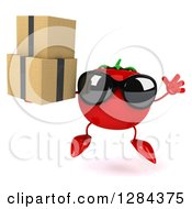 Clipart Of A 3d Tomato Character Wearing Sunglasses Jumping And Holding Boxes Royalty Free Illustration