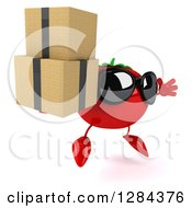 Clipart Of A 3d Tomato Character Wearing Sunglasses Facing Slightly Right Jumping And Holding Boxes Royalty Free Illustration