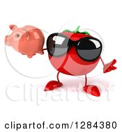 Clipart Of A 3d Tomato Character Wearing Sunglasses Shrugging And Holding A Piggy Bank Royalty Free Illustration